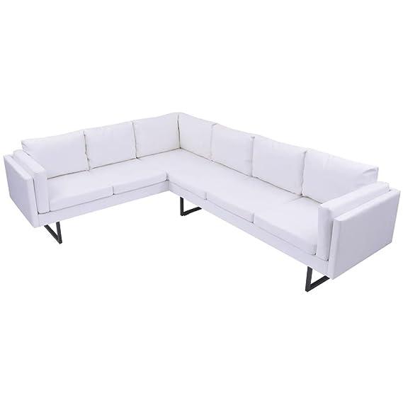 WEILANDEAL Sofa de Esquina de Cuero Artificial Blanco Sofas ...