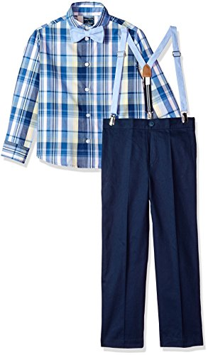 Nautica Boys' Little Set with Shirt, Pant, Suspenders, and Bow Tie, Madras Navy Blazer, 6