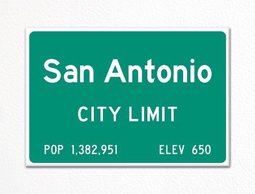San Antonio City Limit Sign Souvenir Fridge Magnet ()