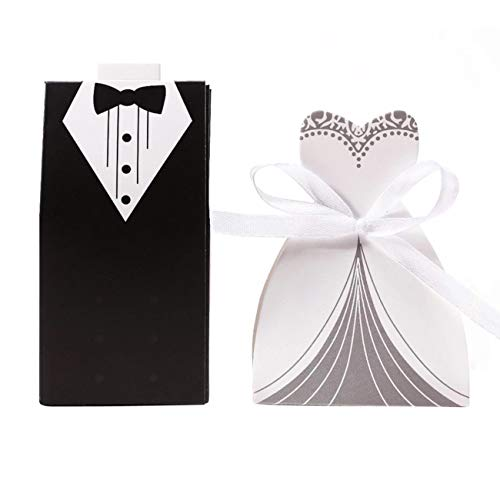 Ogrmar 100pcs Creative Party Wedding Favor Dress & Tuxedo Bride and Candy Box (white+black)