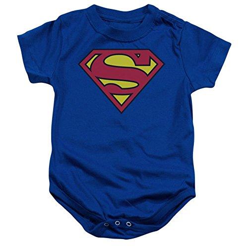 Superman Classic Logo Blue Infant Baby Onesie Romper