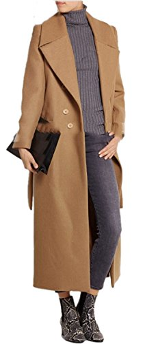 Lingswallow Women's Double Breasted Brown Belted Lapel Trench Wool Coat Jacket