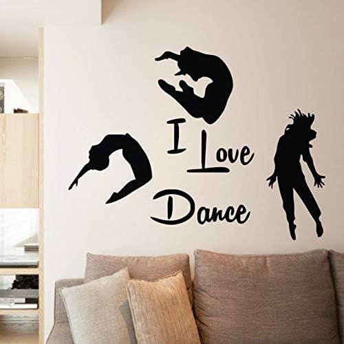 Me Encanta la Danza Pegatinas de Pared decoración del hogar Tres Bailarines Mural Autoadhesivo Vinilo Pegatinas de Pared decoración del Dormitorio de Baile 100.8X75.6cm