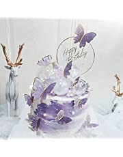 22Pieces Purple Gold Butterfly Cake Toppers Happy Birthday Metal Happy Birthday Cake Topper Butterfly Birthday Cake Decorations for Girls Women