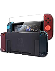 Pakesi Case for Nintendo Switch, Accessories Shell Cover Compatible for Console and Soft TPU Grip Case for Joy-Con with 2 Thumb Grips Cap and Tempered Glass Screen Protector