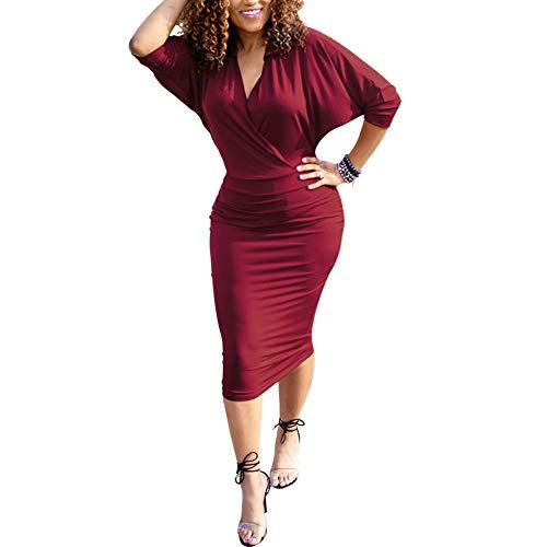 HOOYON Plus Size Dress Women's Off Shoulder Short/Long Sleeve Bodycon Mini Dress (XL, - Mini Flirty