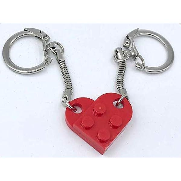LEGO\u00ae White Heart Keychain Love Keyring Valentines Day Friendship Boyfriend Girlfriend BestFriends Birthday Mother/'s