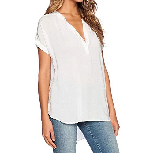 lgant Shirt Et Mode V Chemisier L'Air Blanc Uni Basic Mousseline Femme Irrgulier Manche Chemisiers Casual Top Cou Manches Branch Vetement Courtes Permable fqxdIwf5t