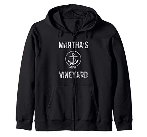 Martha's Vineyard Knot and Anchor Distressed Zip Hoodie