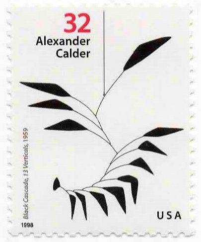 (USA Postage Stamp Single 1998 Black Cascade 13 Verticals Alexander Calder Sculptor Issue 32 Cent Scott)