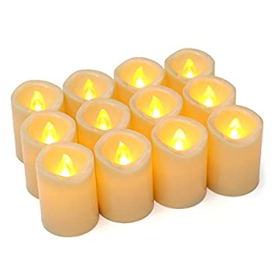 Gold Union,Pack of 12 H 2'' D 1.53''LED Flameless Flickering Unscented Votive Tea Lights Candles Bulk Battery Operated Tea lights for Garden Wedding,Party (Batteries Included)