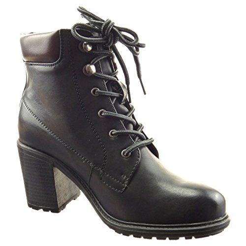 Sopily - Scarpe da Moda Stivaletti - Scarponcini low boots donna finitura cuciture impunture Tacco a blocco tacco alto 7 CM - Nero