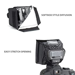 Square Softbox Studio Light Flash Diffuser for Pop-Up and External Speedlites by ENHANCE - Works With Neewer , Altura , Youngnuo and More Speedlite Flashes