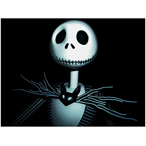 CU Glowing Digital Jack Skellington Closeup Mysterious Black BG Background with Bat Bow Tie - Nightmare Before Christmas 8x10 Photograph - Professional Quality - NMBC