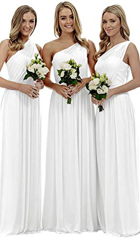 Women's Long One Shoulder Bridesmaid Gown Asymmetric Prom Evening Dress Ivory -