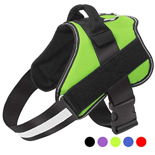 Dog Harness No Pull Reflective Adjustable Pet Vest with Handle for Outdoor Walking- No More Pulling, Tugging or ()