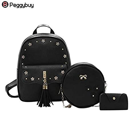 7ef82ddd66 Image Unavailable. Image not available for. Color  DingXiong 3Pcs Set  Fashion Composite Backpacks School Bags for Teenage Girls PU Leather Women  Backpack