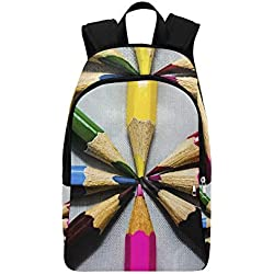 WUTMVING Pencil Wood School Education Composition Casual Daypack Travel Bag College School Backpack For Mens And Women