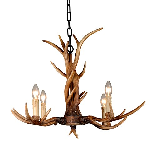 Antler Lighting (EFFORTINC Vintage Style Resin Antler Chandelier 4 Lights,Living room,Bar,Cafe, Dining room, Bedroom,Study,Villas,American Retro Deer Horn Pendant Lights)