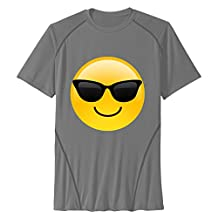 Zhanzy Men's Smiley Sunglasses Emoji Athletic Quick Dry All Sport Training Short Sleeves Tees T Shirt Size M US DeepHeather