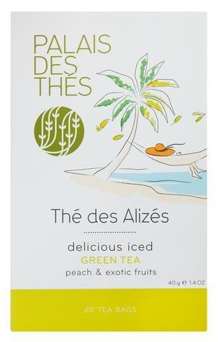 Palais des Thés Thé des Alizes Green Tea with Peach and Exotic Fruits, 20 Tea Bags (40g/1.4oz)