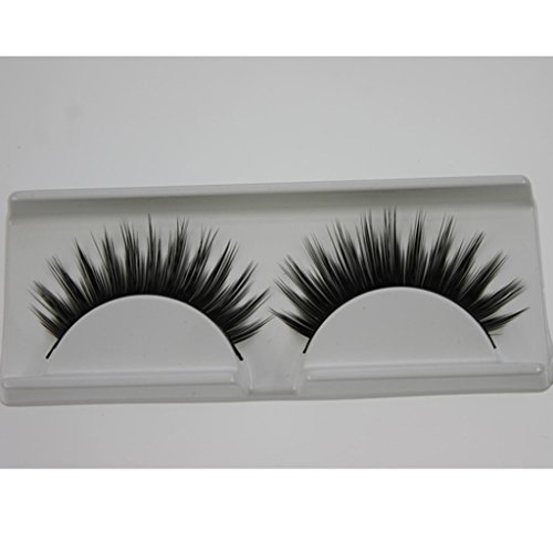 1 Pair Hand Made Natural Dense False Eyelashes Very Thick Natural Style Medical Fiber False Eyelashes-Black