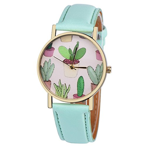 For sale BEUU 2018 New Cactus Pot Quartz Watch Leather Band Analog Vogue Wrist Stainless Vintage Ladies