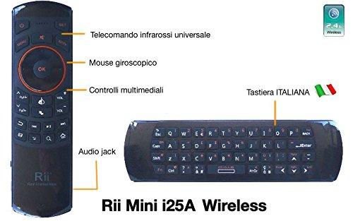 83 opinioni per Rii Mini i25A (layout ITALIANO)- Mini tastiera wireless con Mouse giroscopico,