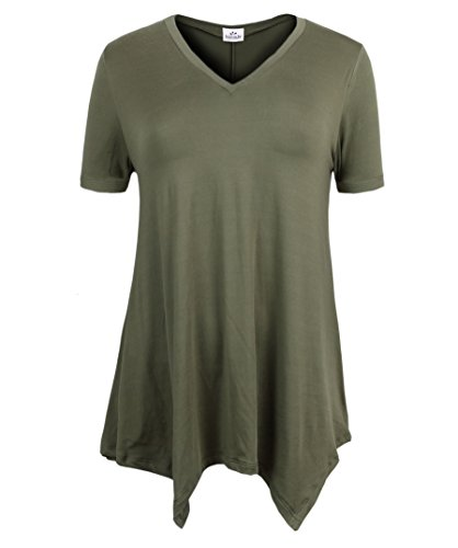 ZERDOCEAN Women's Printed V Neck Short Sleeve Tunic Top Loose Shirt Army Green 2X - Woman Printed Knit Top