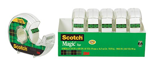 Scotch Magic Tape and Refillable Dispenser, Standard Width, Engineered for Repairing, 3/4 x 650 Inches, 6-Pack (6122)