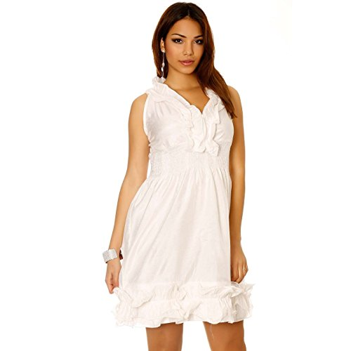 Miss Wear Line - Robe blanche brillante avec élastique à la taille froufrou au col et en bas