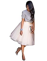 CANIS Women's A Line Short Knee Length Tutu Tulle Prom Party Skirt
