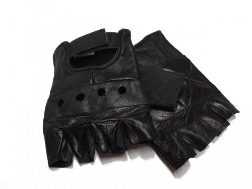 Lederhandschuhe ohne Finger, fingerlose Handschuhe, schwarz S - XXL S,Schwarz