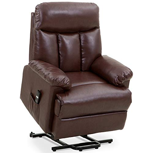 Merax Power Lift Chair Electric Recliner PU Leather Lift Recliner Chair Heavy Duty Steel Reclining Mechanism (Brown Leather)