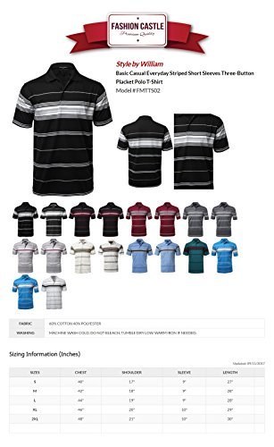Style by William Men's Casual Striped Short Sleeves Three-Button Polo T-Shirt – DiZiSports Store