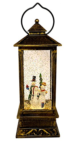 Liquid Globe (LED Christmas Gift Copper Antique Style Lantern: Light-Up Swirl Dome Snow Globe With Liquid Glitter (Snowman Family))