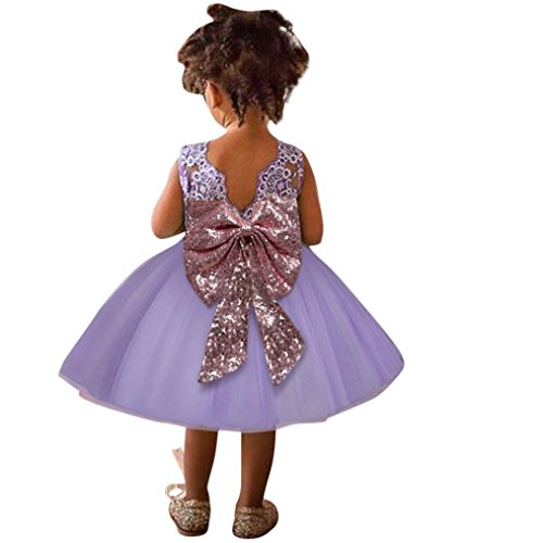 Quartly Toddler Infant Baby Girls Bowknot Zip Embroidery Bling Sequin Party Princess Tutu Dress (24M, Purple)