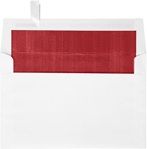 (A9 Foil Lined Invitation Envelopes (5 3/4 x 8 3/4) w/Peel & Press - White w/Red LUX Lining (50 Qty.)   Perfect for the HOLIDAYS, Invitations, Social Mailings, Greeting Cards and More!  FLWH4895-01-50)