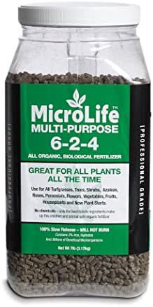 Organic Fertilizer Multi-Purpose For All Vegetables, Flowers & Trees Professional Grade by MicroLife Granulated (6-2-4) 7LB