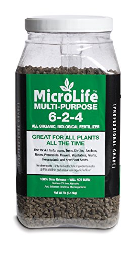 Organic Fertilizer Multi-Purpose For All Vegetables, Flowers & Trees Professional Grade by MicroLife Granulated (6-2-4) 7LB (Dwarf Meyer Lemon)