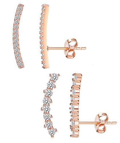 (Besteel 2 pairs 925 Sterling Silver Ear Cuff Crawler for Women Teen Girls Fashion Stud Ear Climber Jackets RG)