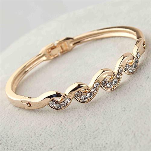 Nattaphol Elegant Trendy Women's/Girl's Rose Gold Color Clear Austrian Crystal Twist Bracelets & Bangles Jewelry Gifts
