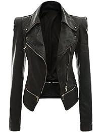 Womens Faux Leather Biker Motorbike Jacket Zipper PU Blazer Slim Fit Short Coat