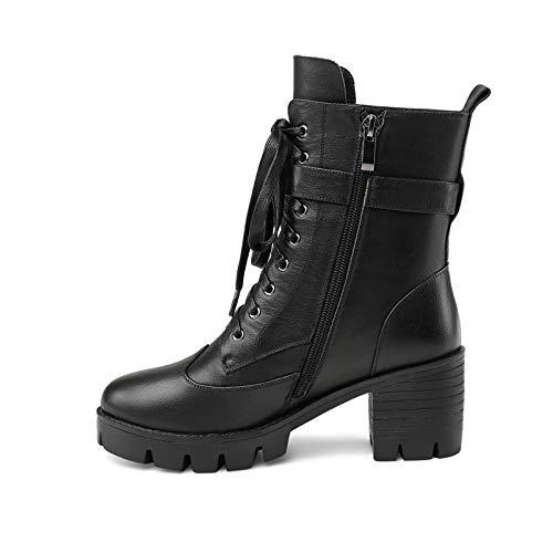 Zapatos De Martin Nueva Ocio Hoesczs Cuero Mujer Mujeres Vaca Botas Genuino Marca Black Tacones Cuadrados BHcf1q7c