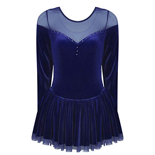 FEESHOW Women's Adult Velvet Double Layer Mesh Skirt Figure Skating Dress Ice Skating Dresses Navy Blue Medium (Best Figure Skating Dresses)