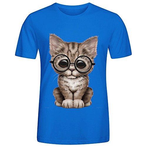 Cute Brown Tabby Kitten Wearing Eye Glasses On Pink Funny T Shirt Men - Eyeglasses Tampa