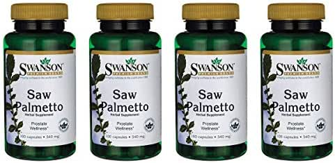 Swanson Saw Palmetto Herbal Supplement for Men Prostate Health Hair Supplement Urinary Health 540 mg 100 Capsules (4 Pack)