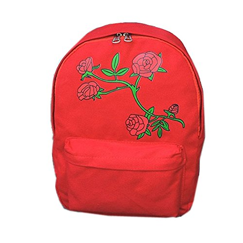 Women's Backpack Ladies Floral Embroidered Canvas Shoulder School Bag Girls Satchel Rucksack Handbag Book Bag- 10.6inch(L)*4.3inch(W)*15inch(H) (White) Red