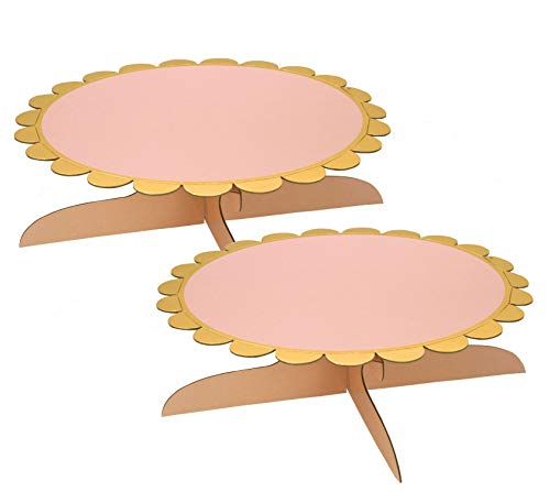 One Tier Pink Cake Stand for Birthday Party (2 set) -