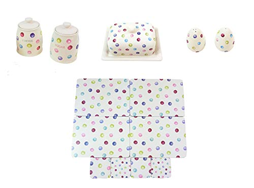 (13 PIECE PRINTED SPOTS DOTS COFFEE SUGAR CANISTERS BUTTER DISH SALT PEPPER SHAKERS PLACEMATS COASTERS)